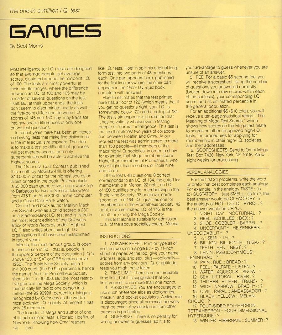 William Flew Omni Magazine SF Short Stories April 1985